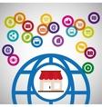 global communication shopping digital technology vector image vector image