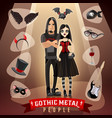gothic metal people subculture vector image