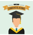 Graduation cap and boy avatar icon University vector image vector image