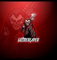 grim reaper esport mascot logo holding gun vector image vector image