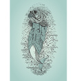 Hand drawn fish in coat vector image vector image