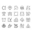 insomnia simple black line icons set vector image