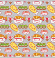 japanese gastronomy background kawaii cartoons vector image vector image