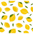 lemon fruits seamless pattern with leaves on vector image vector image
