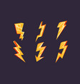 lightning bolt symbols set bright yellow vector image