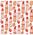 lipstick and nail polish cosmetics pattern beauty vector image