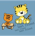 little kitten and friend cartoon vector image vector image