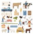 livestock farm elements collection vector image vector image
