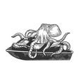 octopus on jetski water bike sketch vector image vector image