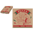 pizza chef and baking oven box vector image