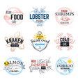 seafood sketch logos vintage hand drawn marine vector image