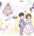Seamless bridal pattern with the newlyweds vector image