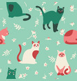 seamless pattern with cute kittens leaves and vector image