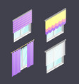 set of 4 isometric windows with different curtains vector image