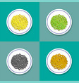 set of only noodle on plate in flat style vector image vector image