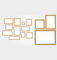 set realistic wooden frame or blank photo frame vector image vector image