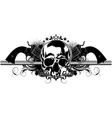 skull human and guns vector image vector image