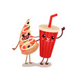 soda drink and pizza slice characters are best vector image vector image