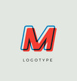 stunning letter m with 3d color contour vector image vector image