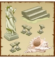 Sunken objects architecture and shell six element vector image vector image