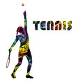 tennis banner with colorful silhouette a woman vector image vector image