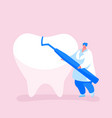 tiny dentist doctor character carry carver vector image