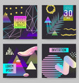 trendy abstract posters set with golden elements vector image