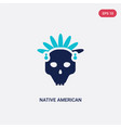 two color native american skull icon from culture vector image vector image