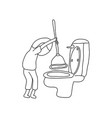 unidentified gender person using rubber plunger vector image