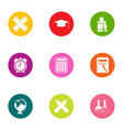 valuable knowledge icons set flat style vector image