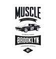 vintage muscle car tee-shirt logo vector image vector image