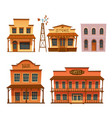wild west buildings set cowboy style design vector image