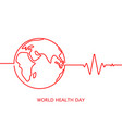 world health day icon with cardiogram in vector image vector image