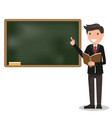 young male teacher with book on lesson at vector image