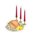 A Delicious Roast Turkey and Herbs with Candles vector image