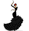abstract flamenro girl in black vector image vector image