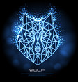 abstract polygonal tirangle animal wolf neon sign vector image vector image