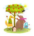 baanimals friends and apple tree vector image vector image