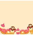 Background vanilla Ice Cream strawberry Cupcake vector image