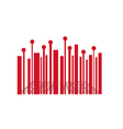 Barcode with red balls vector image vector image