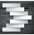 Blank paper stripe banners arrow on dark grey wood vector image vector image