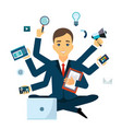 businessman with multitasking and multi skill vector image vector image