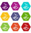 car d printing icons set 9 vector image