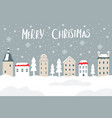 christmas card with city and snow vector image