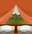 colorful background interior camping tent with vector image vector image
