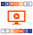computer with play button icon vector image vector image