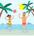 couple on summer vacation people playing ball in vector image