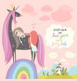 cute cartoon princess with black unicornsweet vector image