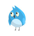 cute little blue funny chick bird standing vector image vector image