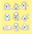 cute puppy with 9 different actions vector image